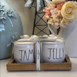 🆕 Rae Dunn JAM & JELLY Jars with 2 Spoons